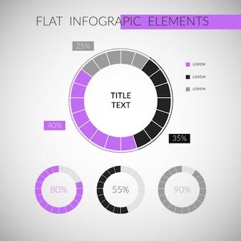 Paars inforgraphic elementen