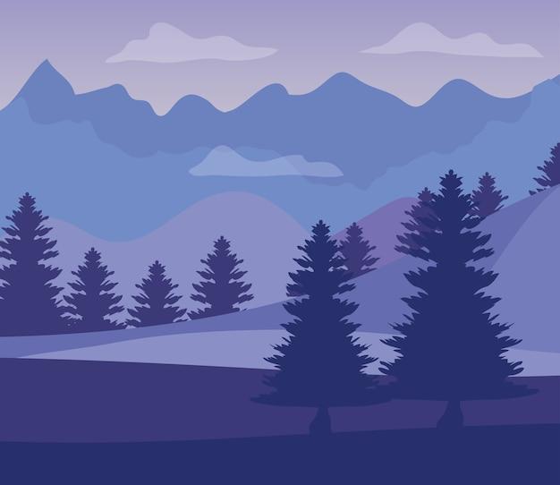 Paars landschap met silhouetten van bergen met pijnbomen.