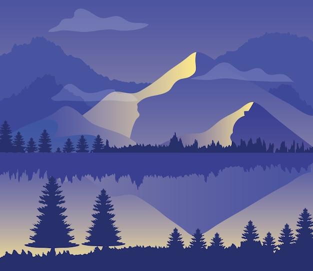 Paars landschap met silhouetten van bergen, pijnbomen en meer.