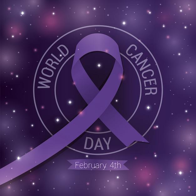 Paars lintontwerp, wereldkanker dag vier februari bewustmakingscampagne ziektepreventie en stichting thema