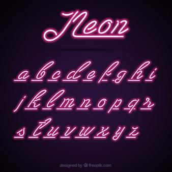 Paars neon alfabet