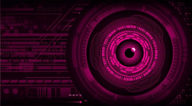 Paars oog cyber circuit toekomstige technologie concept achtergrond