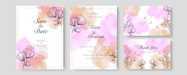 Paars oranje aquarel bruiloft uitnodiging kaartsjabloon set met gouden bloemendecoratie. abstracte achtergrond bewaar de datum, uitnodiging, wenskaart, multifunctionele vector