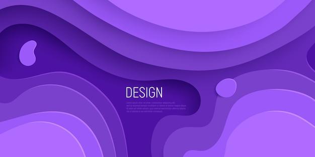 Paars papier gesneden ontwerp met 3d slijm abstracte achtergrond en paarse golven lagen.