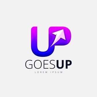 Paars pijl-omhoog trendy logo