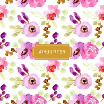 Paars roze bloemenwaterverf naadloos patroon