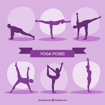 Paars silhouttes yoga-oefeningen
