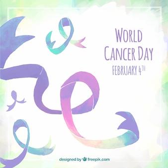 Paars waterverfontwerp voor de dag van wereldkanker