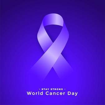 Paars wereld kanker dag bewustzijn ribbconcept