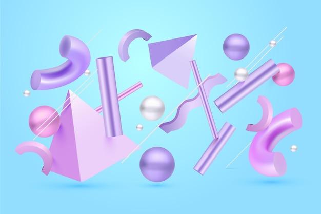 Paarse 3d-vormen zwevende achtergrond