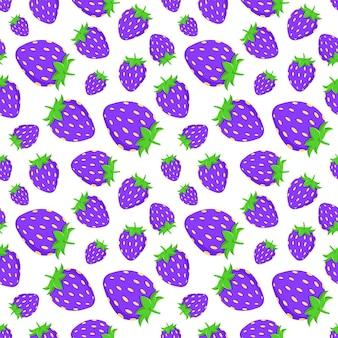 Paarse aardbeien vector patronen voor stof of