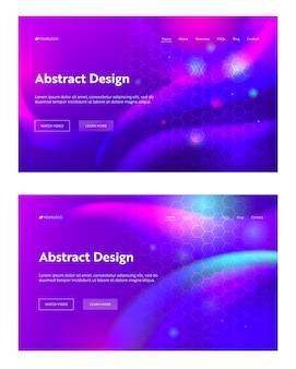 Paarse abstracte geometrische zeshoekige bestemmingspagina instellen achtergrond. futuristisch digitaal fonkelingsverlooppatroon. creatieve violette achtergrond element website webpagina. platte cartoon vectorillustratie