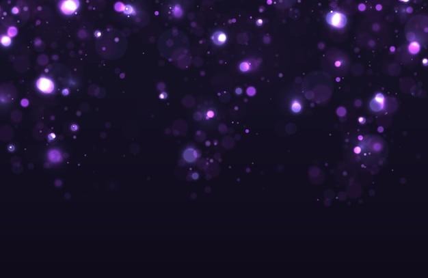 Paarse abstracte onscherpe achtergrond met bokeh-effect. kerst- en nieuwjaarsvakantiesjabloon.