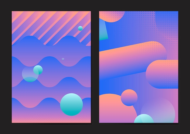 Paarse abstracte poster set