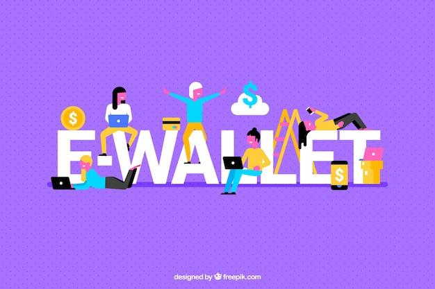 Paarse achtergrond met e-portefeuille woord