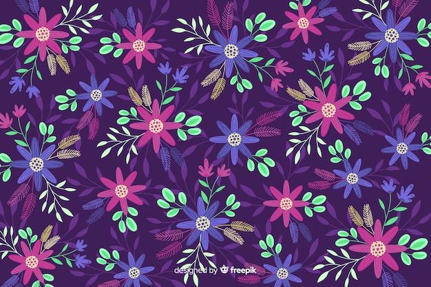 Paarse achtergrond met kleurrijke bloemen
