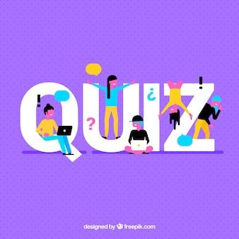 Paarse achtergrond met quiz woord en kleurrijke mensen