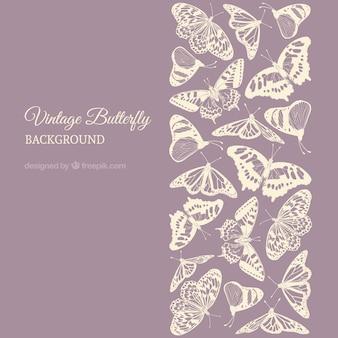 Paarse achtergrond met vlinders in pastel kleuren