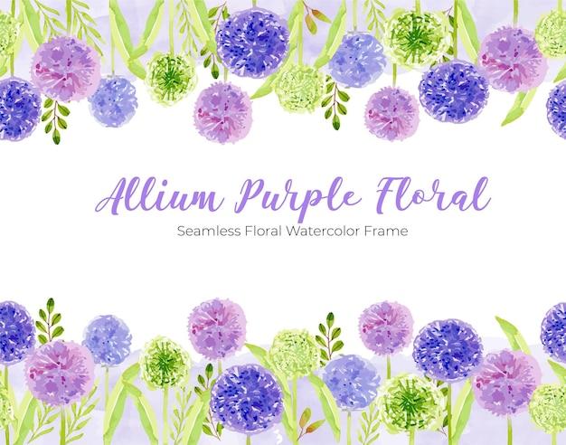 Paarse allium bloem aquarel bloemen frame grens sjabloon