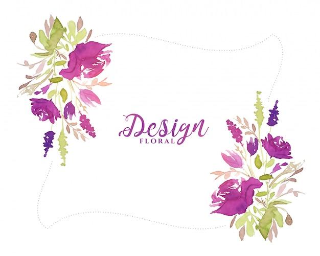 Paarse aquarel bloem decoratieve bloemen achtergrond