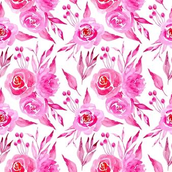 Paarse aquarel bloem naadloze patroon