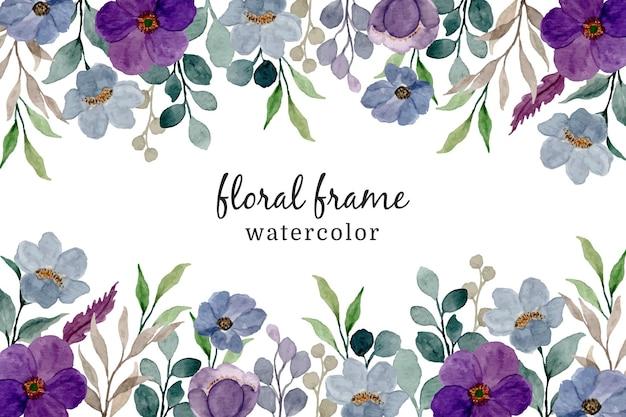 Paarse aquarel bloemen frame