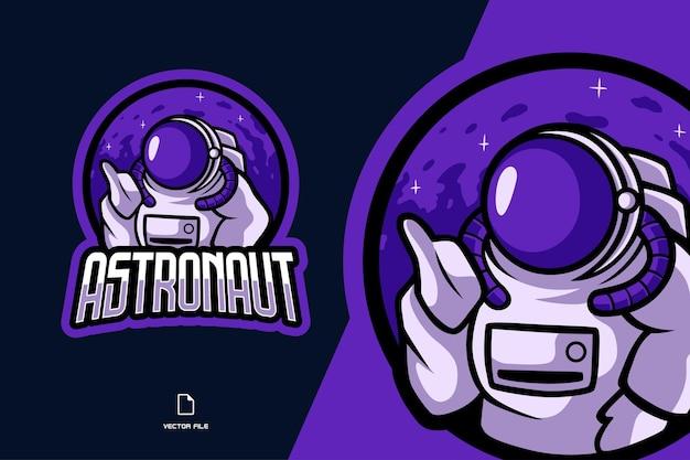 Paarse astronaut mascotte sport logo afbeelding