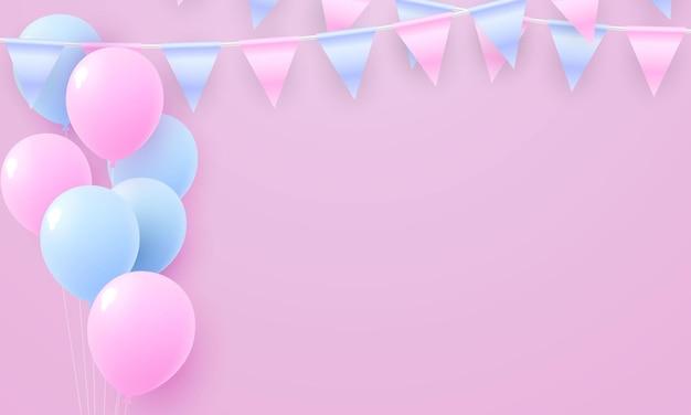 Paarse ballonnen roem concept ontwerp sjabloon vakantie happy day, achtergrond viering vectorillustratie.