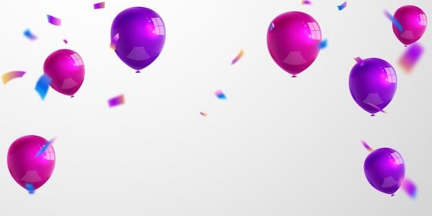 Paarse ballonnen roem conceptontwerp sjabloon vakantie happy day