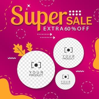 Paarse banner abstracte achtergrond flash-verkoop 60% korting