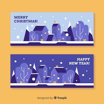 Paarse banner van de kerststad