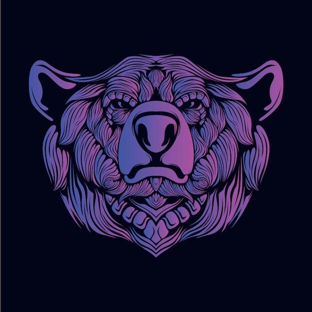 Paarse beer hoofd illustratie