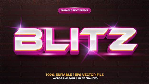 Paarse biltz flash 3d bewerkbare teksteffectsjabloon