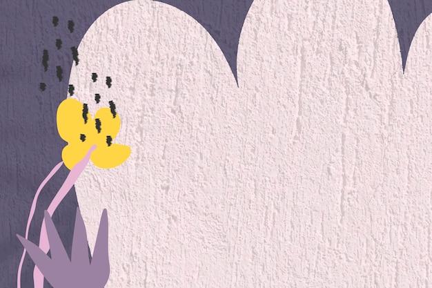 Paarse bloem achtergrond, getextureerde muur ontwerp vector