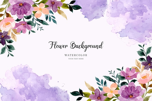Paarse bloem achtergrond met aquarel