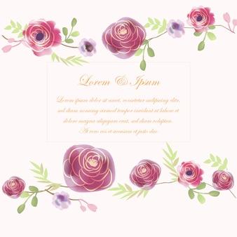 Paarse bloem bruiloft kaart