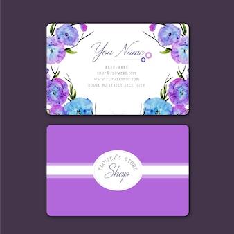 Paarse bloem op te slaan business card