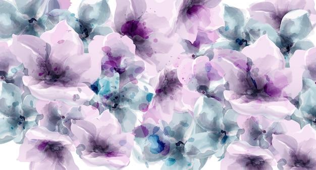 Paarse bloemen aquarel. provence rustieke poster. trouwkaart, decors voor verjaardagsceremonie