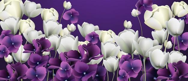 Paarse bloemen banner
