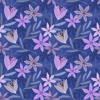 Paarse bloemen en blad op donkere achtergrond Premium Vector