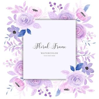 Paarse bloemen frame achtergrond met aquarel