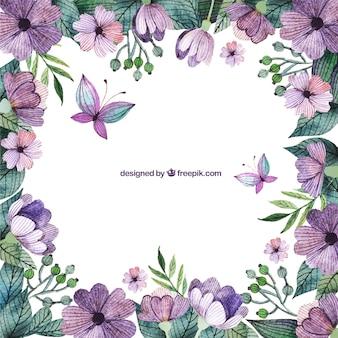 Paarse bloemen grens