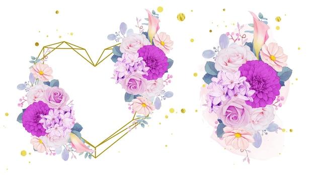 Paarse bloemen krans