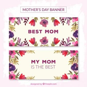 Paarse bloemen moederdag banners