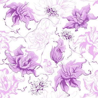 Paarse bloemen, naadloos