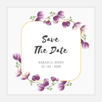 Paarse bloemen sparen de datumkaartsjabloon