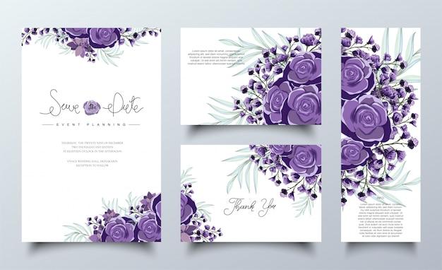 Paarse bloemen uitnodigingskaarten sjabloon set