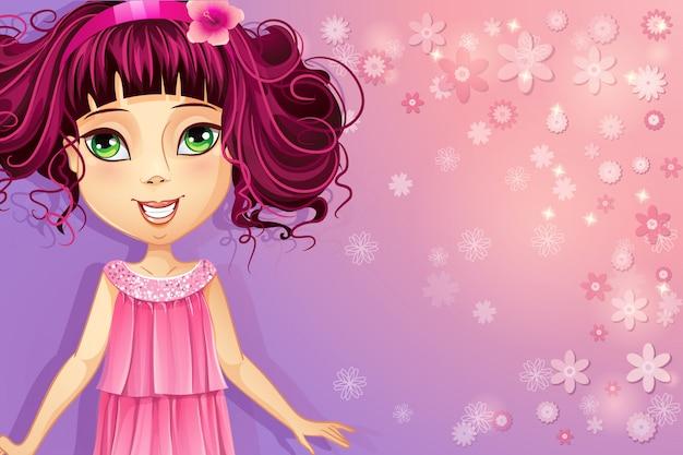 Paarse bloemenachtergrond met een jong meisje in een roze jurk