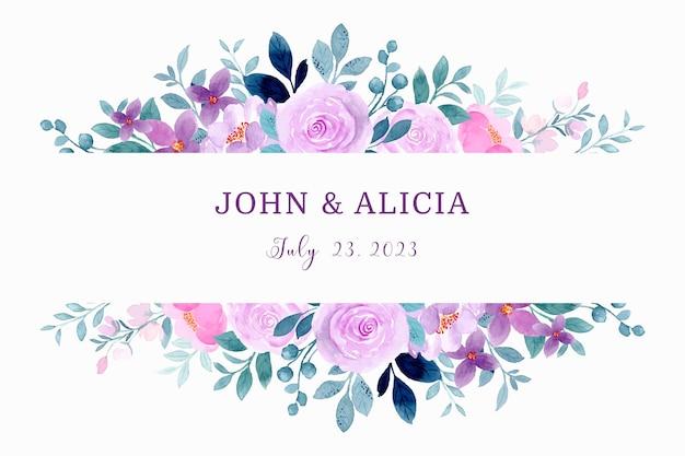 Paarse bloemenrand met aquarel