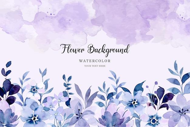 Paarse bloementuin achtergrond met waterverf
